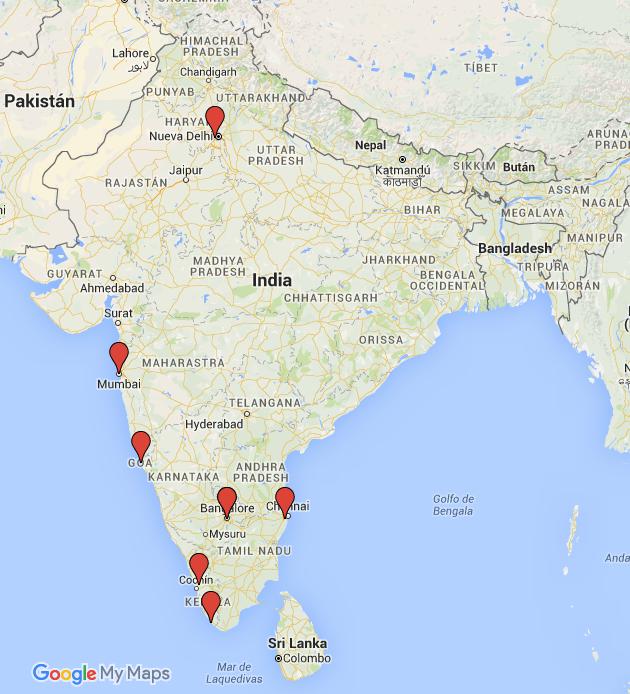 Aeropuertos para llegar a india del sur