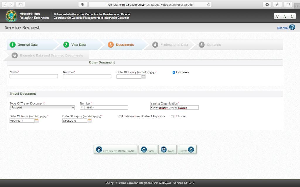 Pengalaman Mengurus Visa Brazil di Jakarta - Form Aplikasi Online Passport Data