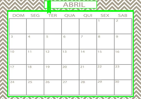 calendário, abril, april