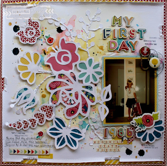 """My First Day' layout by Bernii Miller for Scrappingclearly using the Star Shine collection by Shimelle Lane."