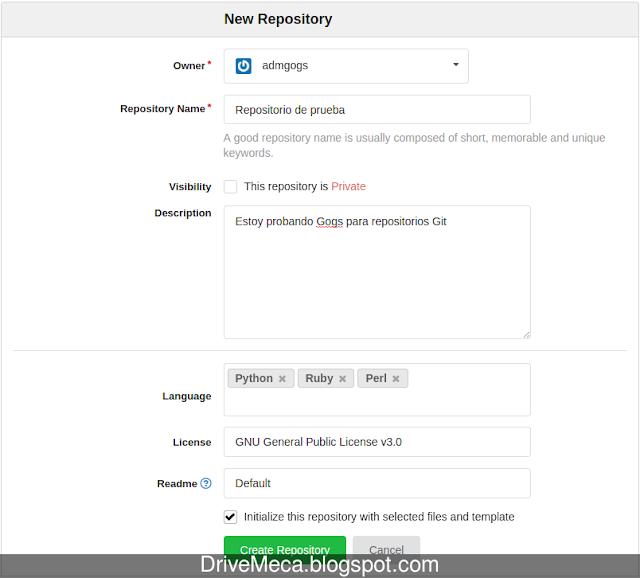 DriveMeca instalando y configurando un servidor Git con Gogs en Linux Ubuntu server