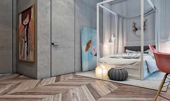 Giường canopy rất kiểu cách và là một điểm nhấn đặc biệt cho căn phòng.