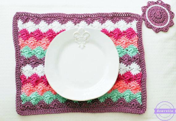 Harlequin stitch Placemat Crochet pattern