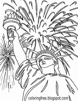 Colorful night sky atmosphere kids clipart firework rockets drawing American celebration coloring