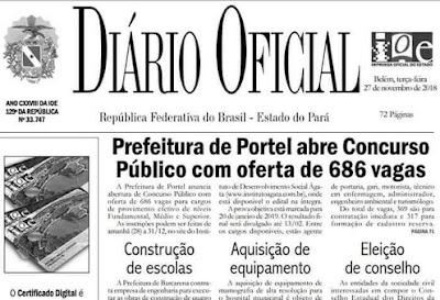 CONCURSO PORTEL-PA: SAI EDITAL COM 686 VAGAS PARA TODOS OS NÍVEIS