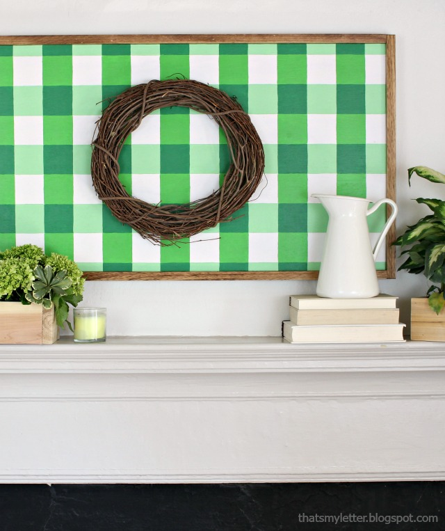 diy giant green gingham wall decor