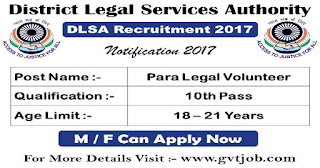 Office of the District legal services authority (DLSA),kalrup (Assam) recruitment 2017 for the post of Pera legal volunteers