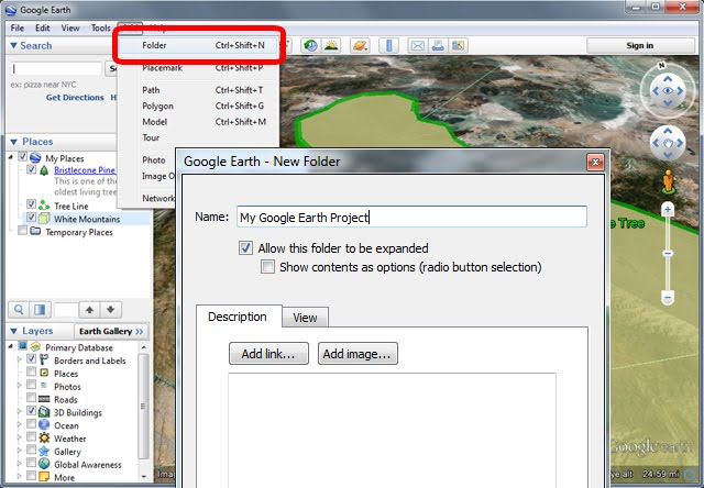 Google Earth Pro Tutorials Create new folder