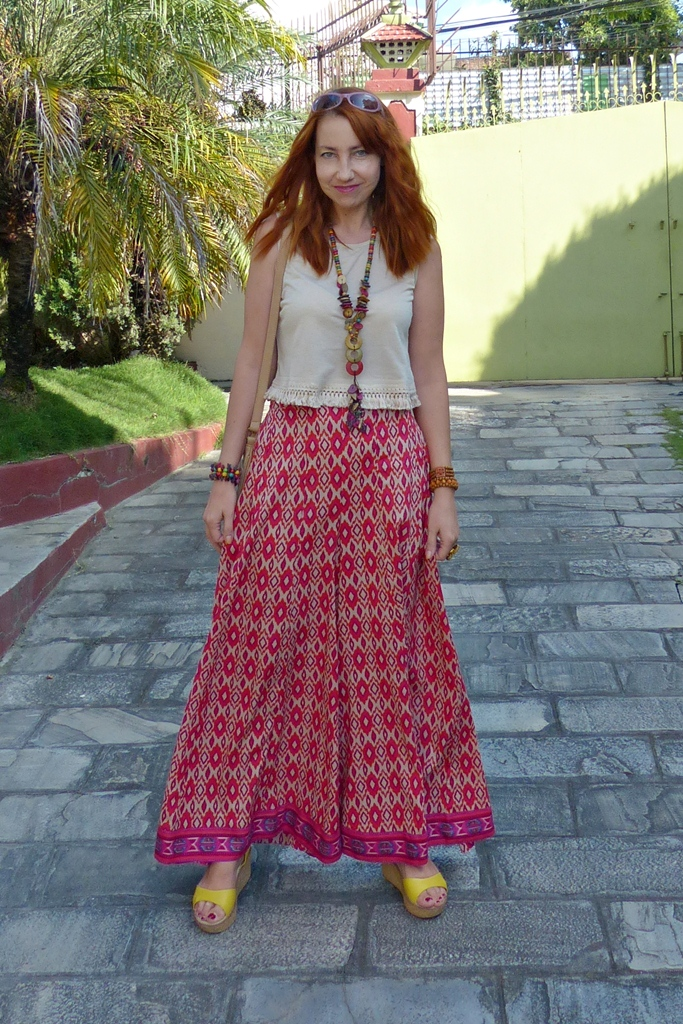 Printed palazzo pants with crop top, wedges and wooden jewelry