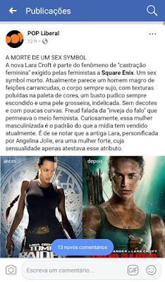 POP Liberal. Lara Croft. A morte de um sex symbol: a nova Lara Croft é parte do fenômeno de castração feminina exigido pelas feministas