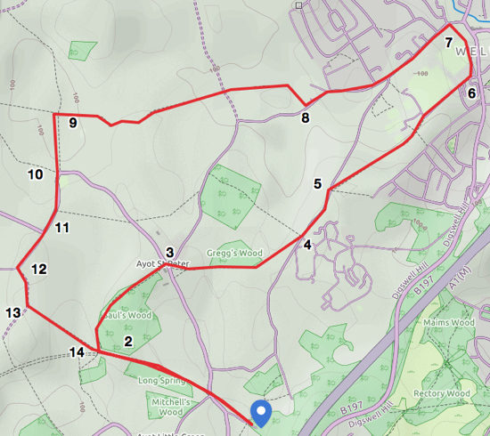 Map for Walk 12 The Welwyn Loop, created by David Brewer, map elements copyright MapHub and Thunderforest