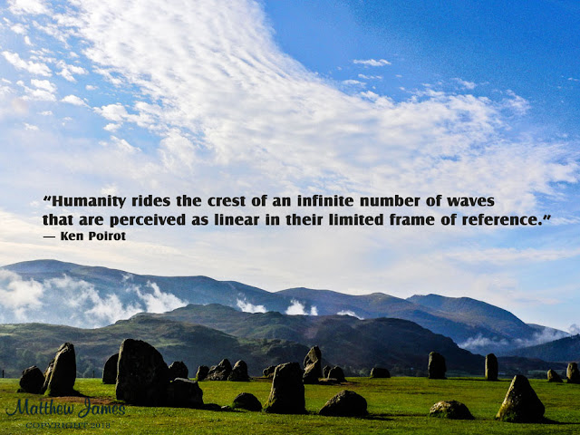 'Humanity rides the crest of an infinite number of waves that are perceived as linear in their limited frame of reference' - Ken Poirot