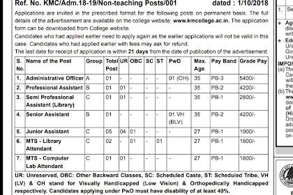 Semi Professional Assistant (Library) posts at Kirori Mal College, New Delhi