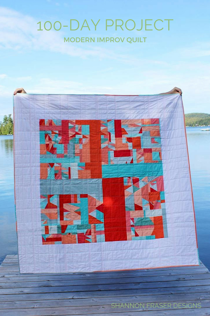 Modern Improv Quilt | Shannon Fraser Designs | Modern Quilting | Solids Quilt | Kona Cotton | Colorful | Quilts in Nature