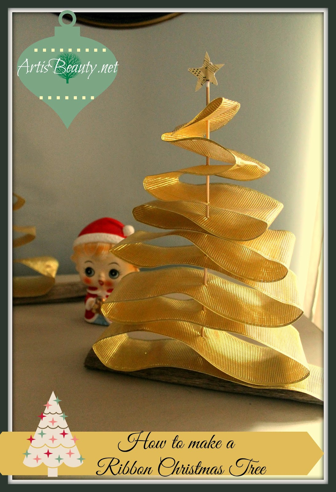 how to make a ribbon christmas tree. Christmas DIY Easy Home decor