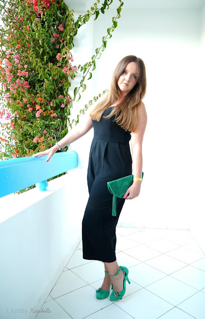 photo of new look black culotte jumpsuit and irregular choice frog shoes