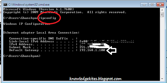 IP address of your network connection
