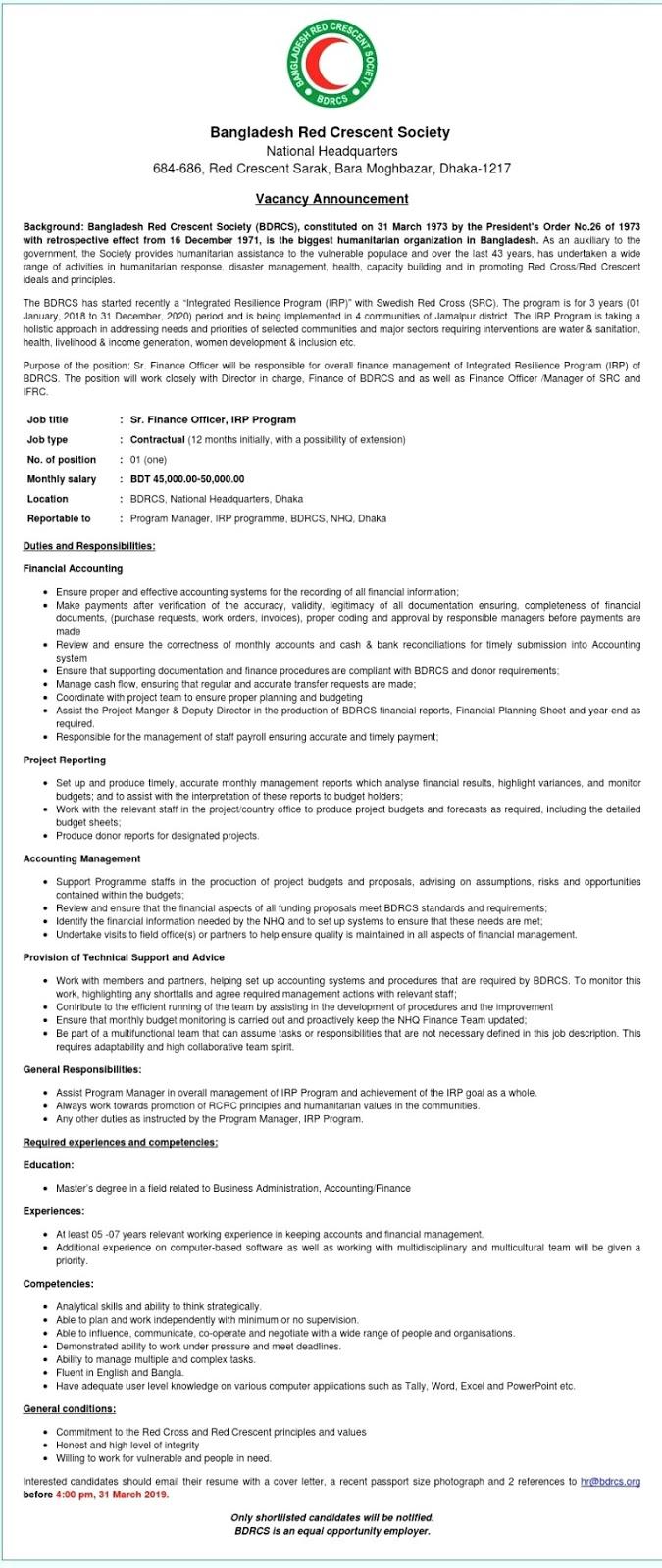 Bangladesh Red crescent job circular 2019