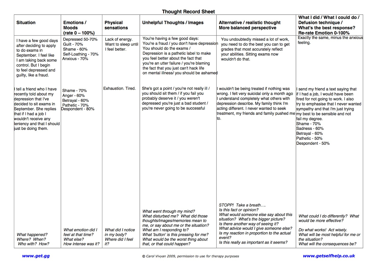 Behavioral Activation Worksheet