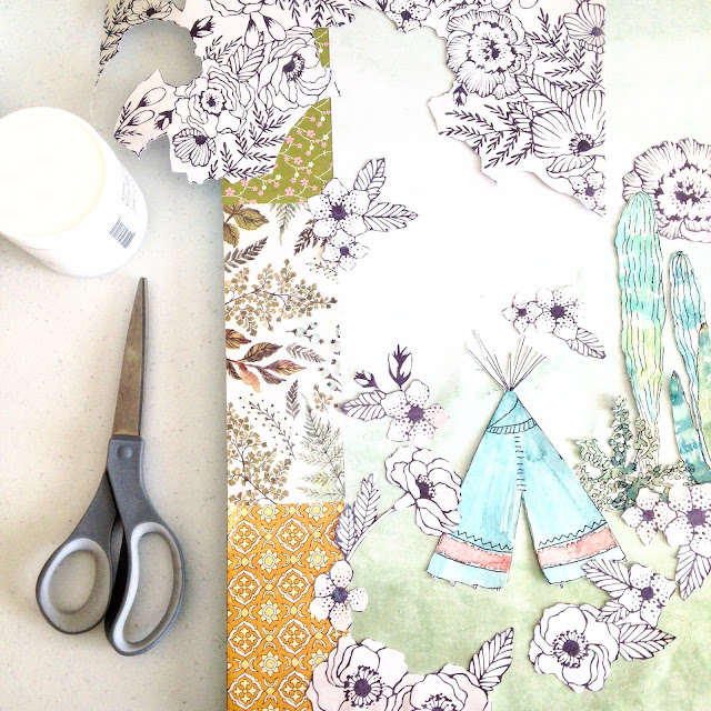 how to make a paper collage with scrapbook paper