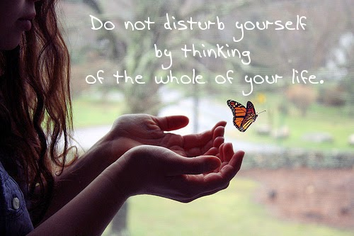 Do not disturb yourself by thinking of the whole of your life.