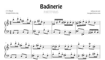 Badinerie de J. S. Bach Partitura de Piano en La menor y Si menor