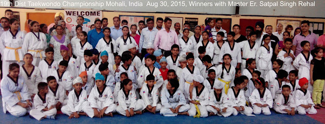 19th District Taekwondo Championship, SAS Nagar, Mohali, Aug 2015, Punjab, Chandigarh, India, Martial arts, Self-defence, Fitness, Training, Classes, Active, mix, Grand, Master Er. Satpal Singh Rehal, Kot Maira, Garhshankar, Hoshiarpur, Academy, Clubs, Association, Federation,