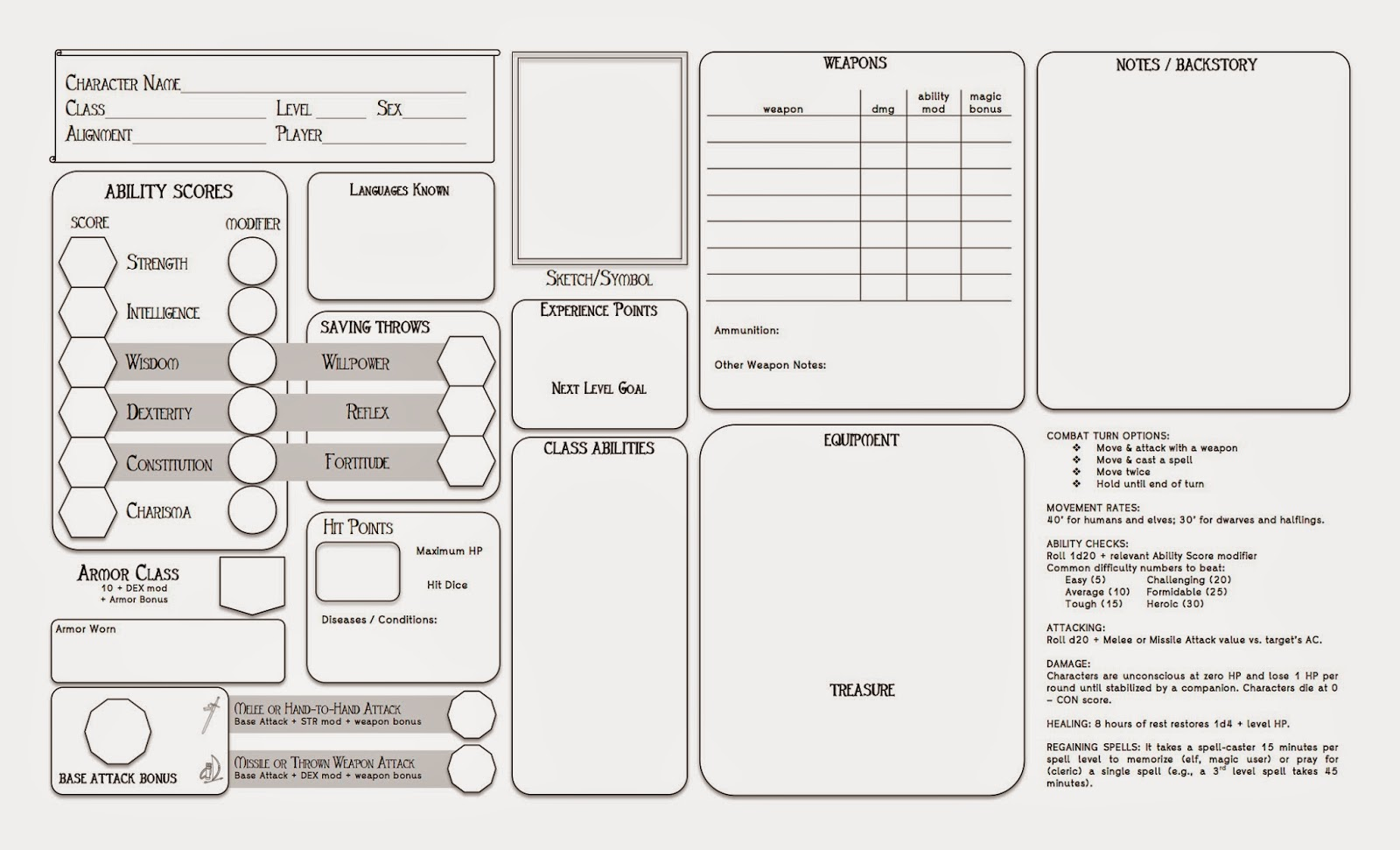 Chronicles Of Evenoria Legal Sized Deluxe Character Sheet