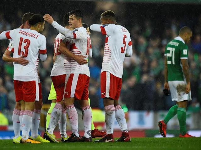 Play-off Piala Dunia 2018: Menang Tipis atas Irlandia Utara, Swiss Selangkah Lagi ke Rusia