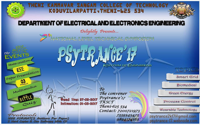 PSYTRANCE'17: A National Level Technical Symposium at Theni Kammavar Sangam College