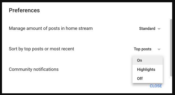 Google + preferences