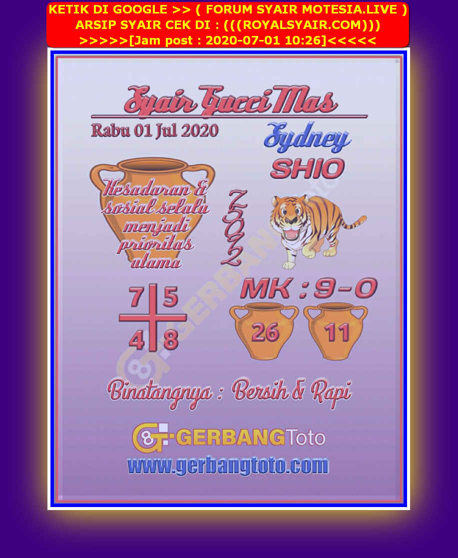 Kode syair Sydney Rabu 1 Juli 2020 26