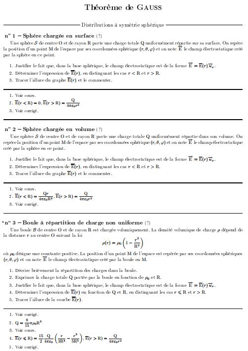 Exercices Corrigés Théorème de Gauss s2