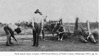 Image of Farm hands, c1895 from History of Noble County, Oklahoma (1987), pg. 41.