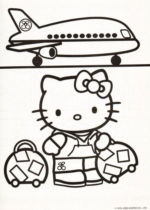 Tranh tô màu mèo hello kitty đi du lịch máy bay
