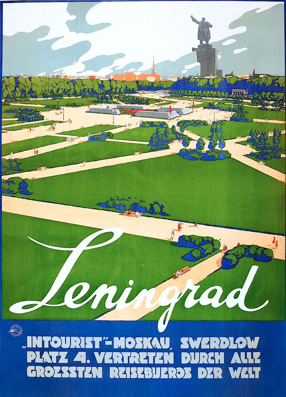 a 1930s German travel poster for Leningrad