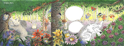illustration forêt, polychromos, crayons de couleur, ambiance, printemps, loup, malric