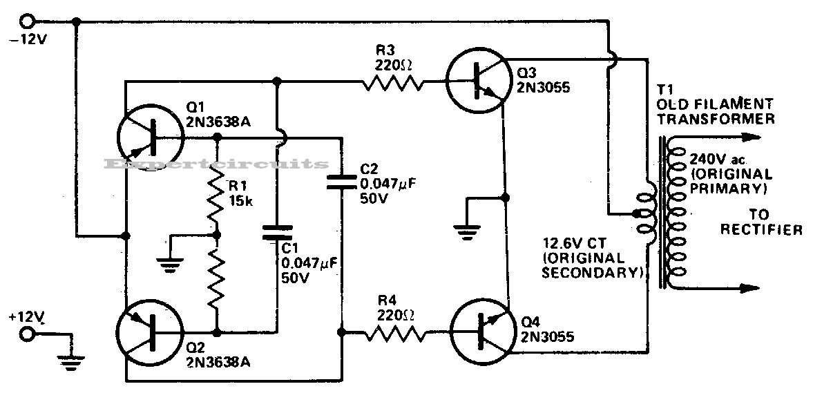 12v dc to 220v ac converter inverter circuit design