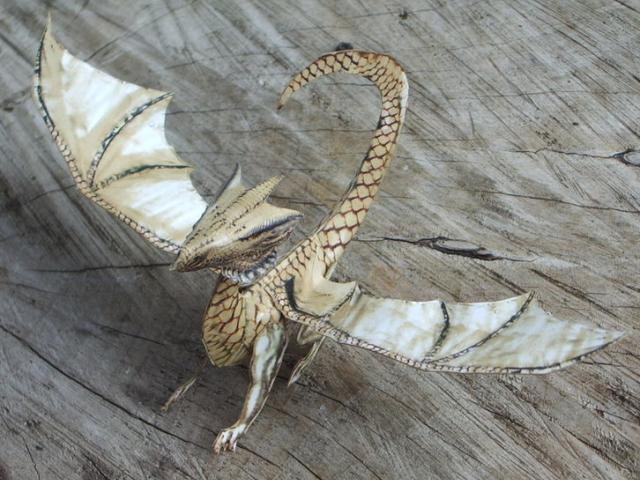 cardboard dragon template - white dragon paper model