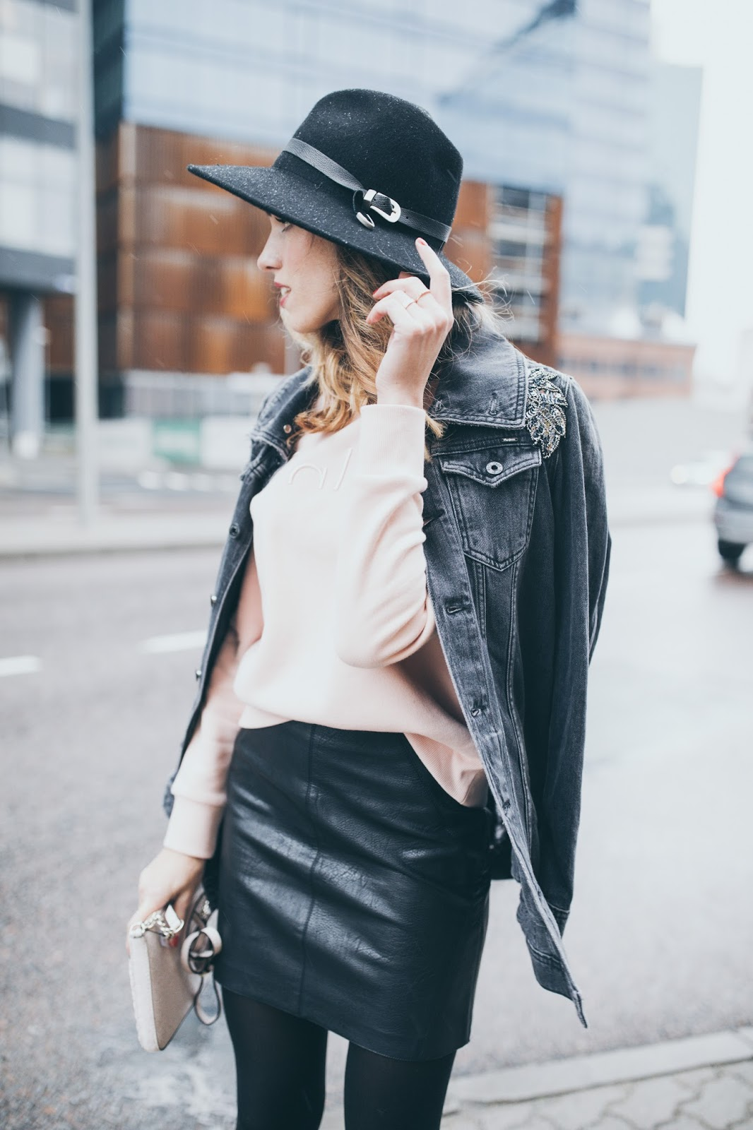 denim jacket leather skirt outfit fall