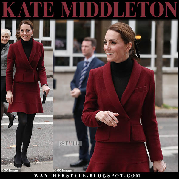 Kate Middleton in burgundy blazer and burgundy mini skirt paule ka royal family winter fashion november 21