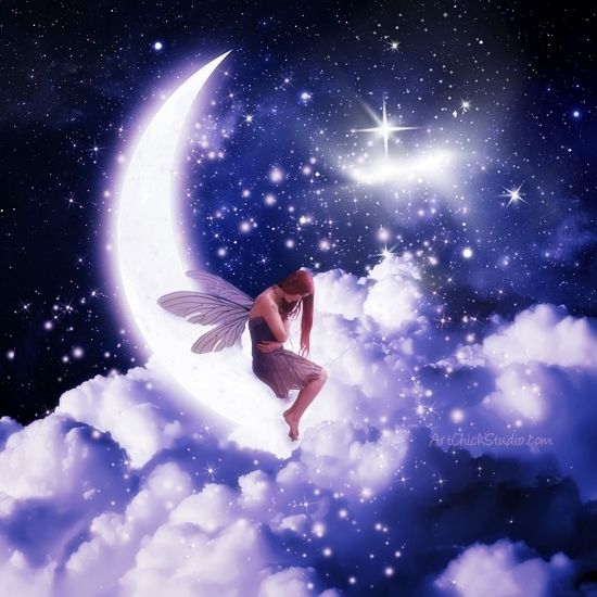 Somber Fairy on the Moon Digital Art