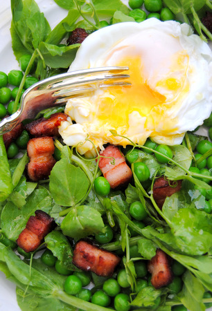 Pea and Pea Shoot Salad with Bacon and Eggs