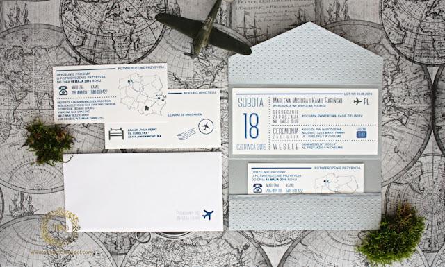 oryginalne zaproszenie ślubne bilet lotniczy artirea