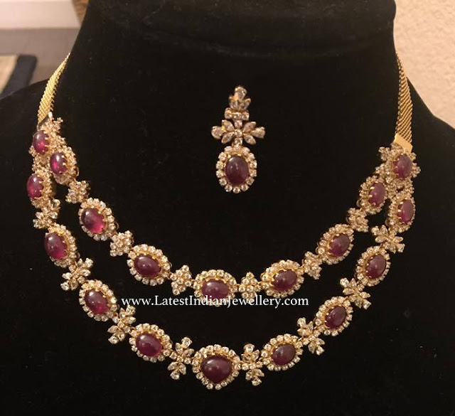 2 Layer Ruby Diamond Necklace