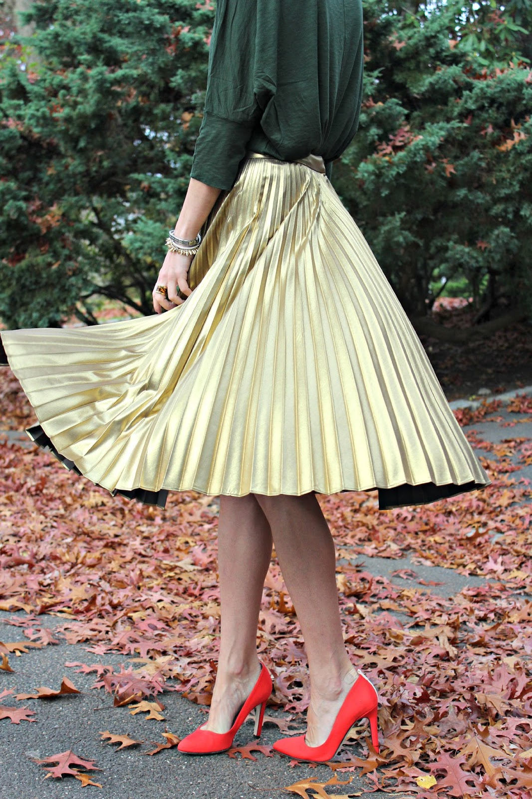 gold pleated ALC skirt