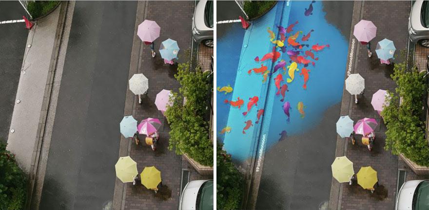 omorfos-kosmos.gr - Πολύχρωμες τοιχογραφίες εμφανίζονται στον δρόμο μόνο όταν βρέχει (Εικόνες)