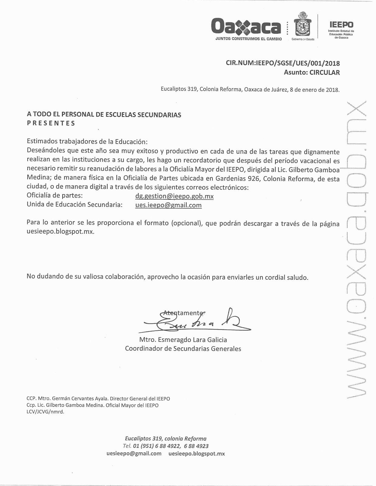 Unidad de Educación Secundaria - IEEPO: CIRCULAR. REANUDACIÓN DE LABORES
