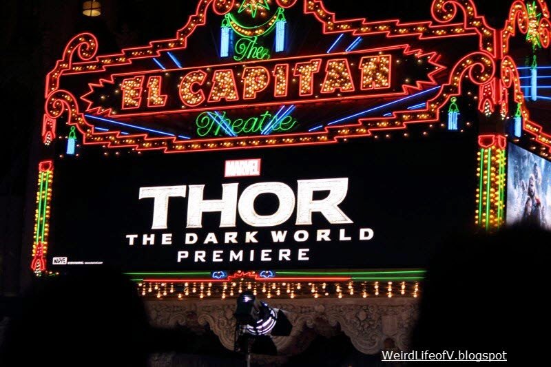 The El Capitan Theatre marquee advertising the Thor The Dark World Premiere