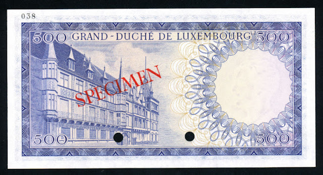 Luxembourg money currency 500 Francs banknote note bill